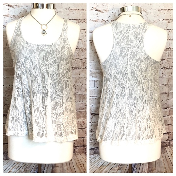Forever 21 Razor Back Lace Top
